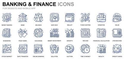 Bank en financiën lijn pictogrammen vector