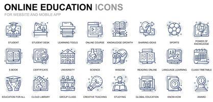 Onderwijs en kennis lijn pictogrammen