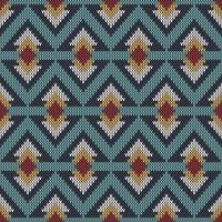 Geometrisch etnisch gebreid patroon met herhalende diamanten van verschillende grootte