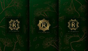 Set luxe groene pakket sjablonen vector