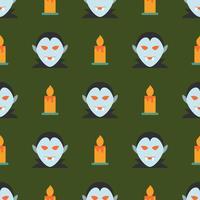 Halloween naadloos patroon met vampier en kaars