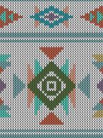 Geometrisch etnisch gebreid patroon met driehoeken en diamanten