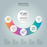 infographic ontwerp bedrijfsconcept met 5 opties, onderdelen of processen.