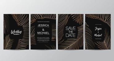 Premium gouden luxe bruiloft uitnodigingsset vector