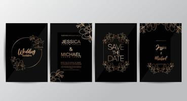 Premium zwarte luxe bruiloft uitnodigingsset vector