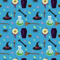 Halloween naadloos blauw patroon vector