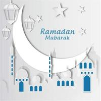 Ramadan Mubarak-papier uitgesneden met maan en moskee vector