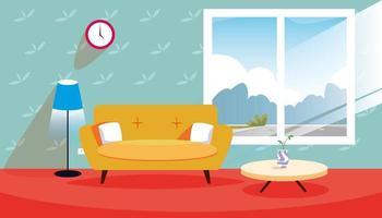 Woonkamer met zon schijnt door raam