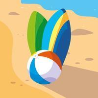 Surfplank en strandbal vector