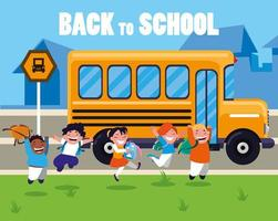 gelukkige studenten bij de bushalte van de school