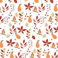 herfst naadloze patroon met bladeren, vuur en andere elementen