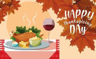 Turkije diner met set pictogrammen in tabel