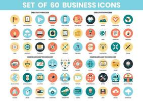 Creativiteit, hardware en technologie iconen set