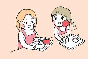 Terug naar schoolmeisjes in kantine die ontbijt eten vector