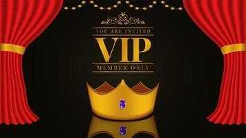 VIP-uitnodiging met 3D-gouden kroon en rood gordijn en tapijt