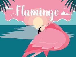 slapende flamingo staande in water
