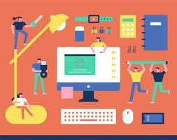 Kleine karakters bewegen op kantoor kantoorbenodigdheden vector