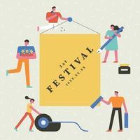 Festivalaffiche met kleine mensen die grote pennen en het schrijven houden