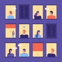 Buren kijken door de ramen van het appartement vector