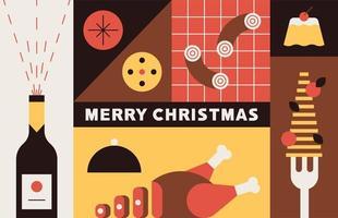 Kerst eten in vierkante secties vector
