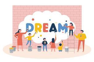 Kinderen schilderen het woord droom op een muur vector