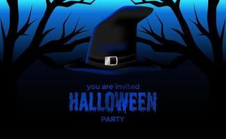 Halloween griezelige blauwe nacht met sjabloon voor spandoek van tovenaarshoed vector
