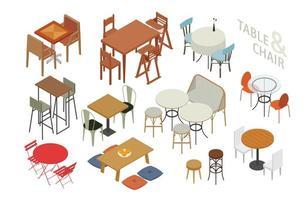 Set isometrische stoelen en tafels in verschillende stijlen. vector
