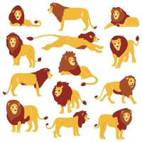 Hand getrokken platte leeuwen set vector