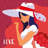 vrouw met hoed en boeket verliefd poster vector