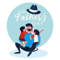 gelukkige vaderdag kaart met vader en kinderen