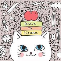Terug naar school kat en boekillustratie