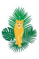Vector hand getekend platte compositie met leeuw en bladeren