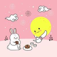 Midden herfst konijn en maan vector. vector