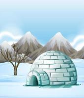 Aardscène met iglo ter plaatse