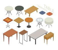 Set isometrische meubels in verschillende tafelstijlen.