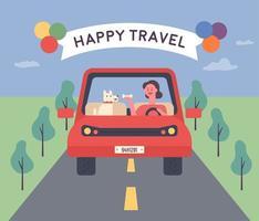 Vrouwen en schattige hond hebben een gelukkige rit. vector