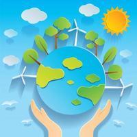 Hand met Globe Earth Day afbeelding in papier gesneden stijl