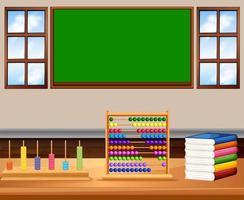 Klaslokaal met bord en boeken vector