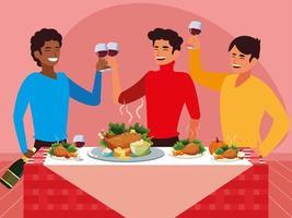 groep mannen vieren thanksgiving