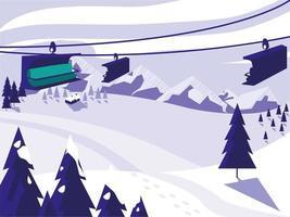 skikamp sneeuwlandschap vector