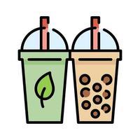 Bubble tea en Green Tea Icon vector
