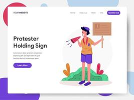 Protesteerder Holding Sign Illustratie Concept