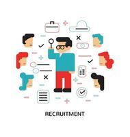 Modern Recruitment, inhuren, platte ontwerpafbeelding