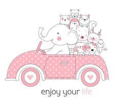 Baby dieren in auto Hand getrokken ontwerp