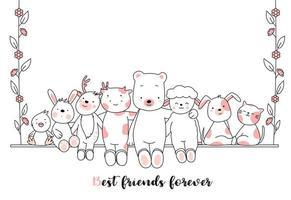 Beste vrienden voor altijd Baby dieren kaart vector