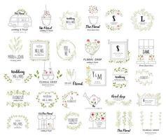 Floral frame ingesteld voor bruiloft vector