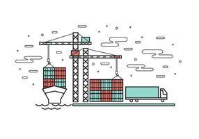 Vlakke lijn ontwerp van containerschip in industriële haven vector