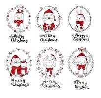 Merry Christmas schattige dieren in feestelijke Frames vector