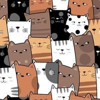 Leuke kat geconfronteerd met naadloze patroon vector