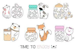 Tijd om te genieten van Hand getrokken dieren Set vector